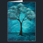 """Blue Tree Sympathy Card<br><div class=""""desc"""">Outside..an image of my original painting,  &#39;&#39;The Spirit Within&#39;. Inside script: Wishing you strength to sustain you during this difficult time and healing that soothes both mind and spirit.</div>"""