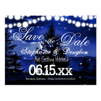 Blue Tree Twinkle Lights Save the Date Postcards