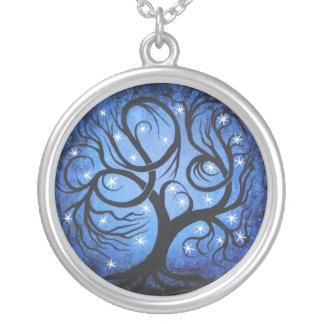 Blue tree with stars, Necklace