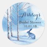 Blue Trees Rabbit Winter Bridal Shower Thank You Classic Round Sticker