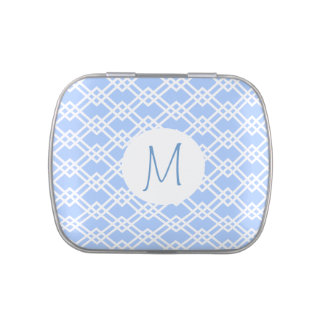 Blue Trellis with Monogram Jelly Belly Candy Tin