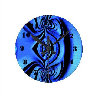 Blue trendy art round clock