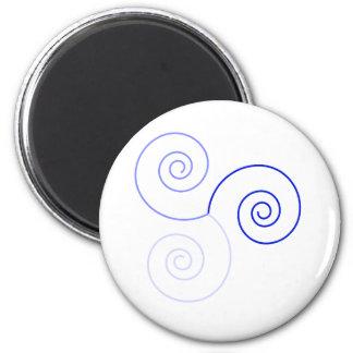 Blue Tri-Color Spiral of Life Refrigerator Magnets