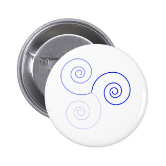 Blue Tri-Color Spiral of Life Pinback Button