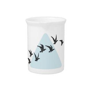 Blue Triangle Birds Beverage Pitcher