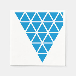 Blue Triangle of triangles Paper Napkin