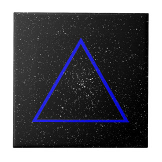 Blue triangle outline on black star background ceramic tile