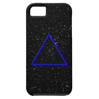 Blue triangle outline on black star background iPhone SE/5/5s case