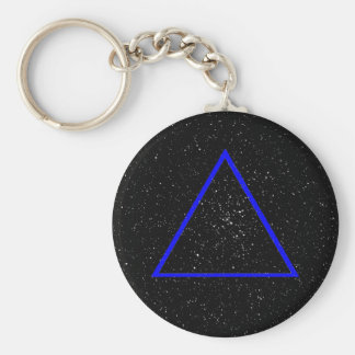 Blue triangle outline on black star background keychain