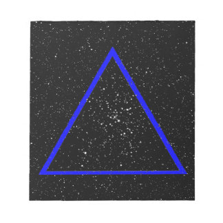Blue triangle outline on black star background notepad