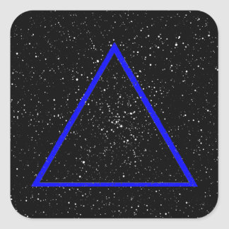 Blue triangle outline on black star background square sticker