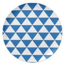 Blue Triangle Pattern Melamine Plate