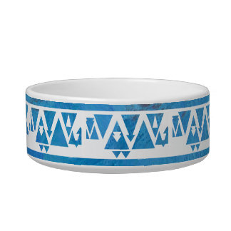 Blue Triangles and Arrows Cat Food Bowls