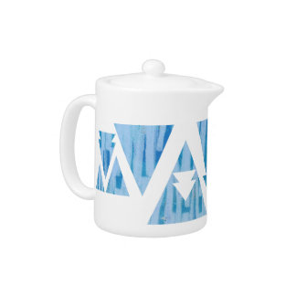 Blue Triangles and Arrows Teapot