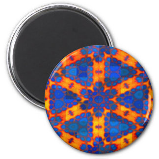Blue Triangles and Stars on Orange Magnet