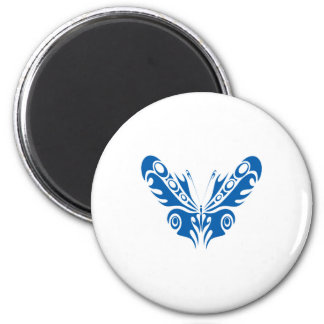 blue tribal butterfly design 2 inch round magnet