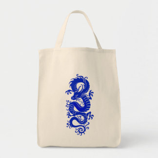 Blue Tribal Chinese Dragon Tote Bag