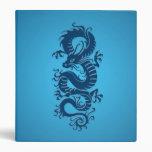Blue Tribal Chinese Dragon Vinyl Binder
