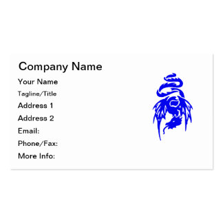 Blue Tribal Dragon Tattoo with Spread Wings Double-Sided Standard Business Cards (Pack Of 100)