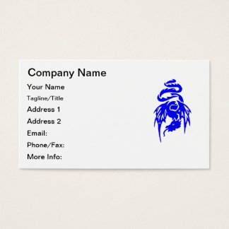 Blue Tribal Dragon Tattoo with Spread Wings Business Card