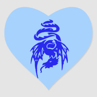 Blue Tribal Dragon Tattoo with Spread Wings Heart Sticker