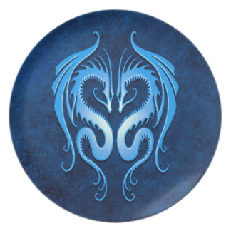Blue Tribal Dragons Melamine Plate