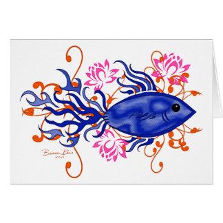 Blue Tribal Fish Card