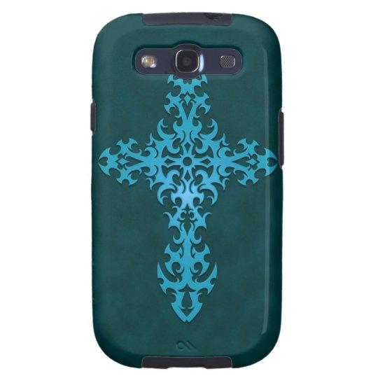 Blue Tribal Gothic Cross Galaxy SIII Cover