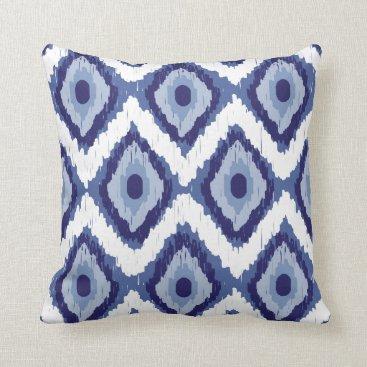 Aztec Themed Blue Tribal Ikat Diamond White Chevron Throw Pillow