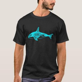 Blue Tribal Killer Whale T-Shirt