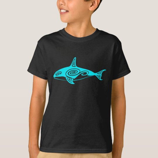 Blue Tribal Killer Whale T-Shirt