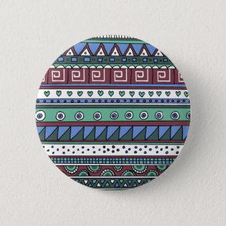 Blue tribal pattern button