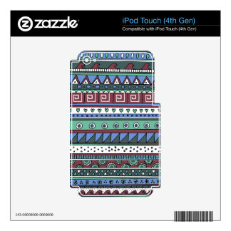 Blue tribal pattern iPod touch 4G decals