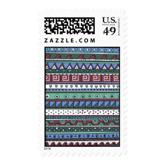 Blue tribal pattern postage stamps