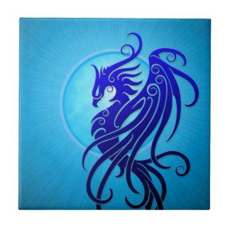 Blue Tribal Phoenix Ceramic Tile