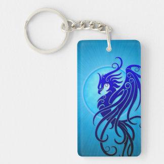 Blue Tribal Phoenix Keychain