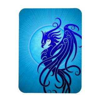 Blue Tribal Phoenix Rectangular Magnets