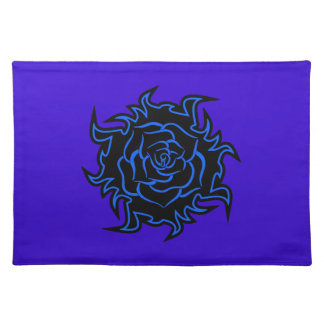 Blue Tribal Rose Placemat