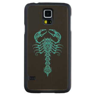 Blue Tribal Scorpion on Black Carved Maple Galaxy S5 Slim Case