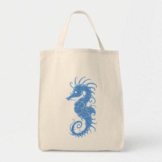 Blue Tribal Seahorse Tote Bag