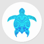 Blue Tribal Turtle Classic Round Sticker