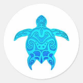 Blue Tribal Turtle Classic Round Sticker