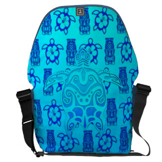Blue Tribal Turtle Courier Bag
