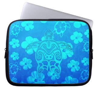 Blue Tribal Turtle Laptop Computer Sleeves