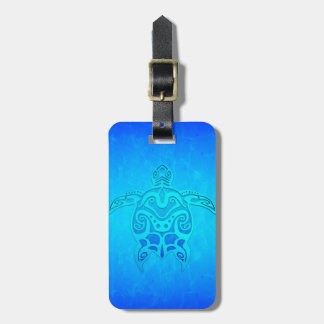 Blue Tribal Turtle Luggage Tag