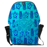 Blue Tribal Turtle Messenger Bags