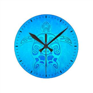 Blue Tribal Turtle Round Clock