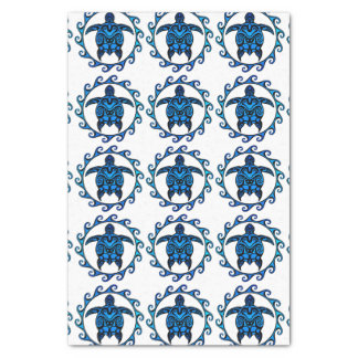 "Blue Tribal Turtle Sun 10"" X 15"" Tissue Paper"