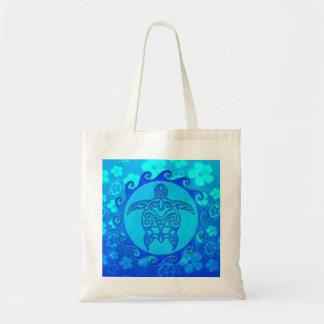 Blue Tribal Turtle Sun Canvas Bags