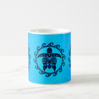 Blue Tribal Turtle Sun Coffee Mug